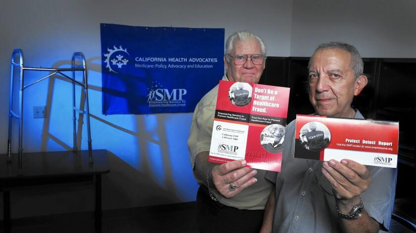 Doug Shaw, left, Southern California liaison, and Gary Molina of the Senior Medicare Patrol.