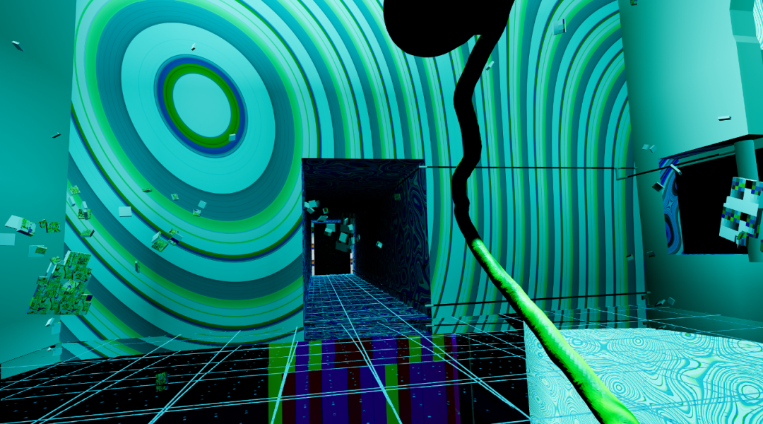 """A still from artist Keith Tolch's interactive, virtual reality artwork, """"Glass Bottom Brain,"""" produced at Art Reality Studio."""