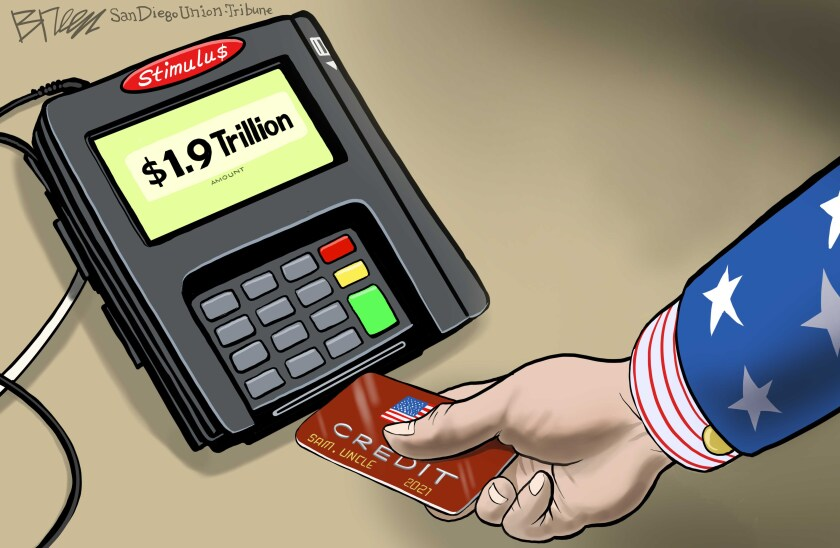 Uncle Sam pays for the $1.9 Trillion stimulus with a credit card in this Breen cartoon
