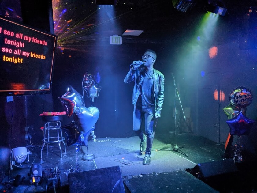 Singer Ed Joseph takes the stage at Pants Karaoke.
