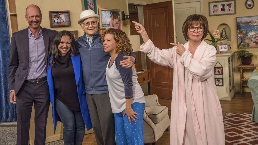 """One Day at a Time"" creators Mike Royce, left, and Gloria Calderón Kellett, producer Norman Lear and stars Justina Machado and Rita Moreno."