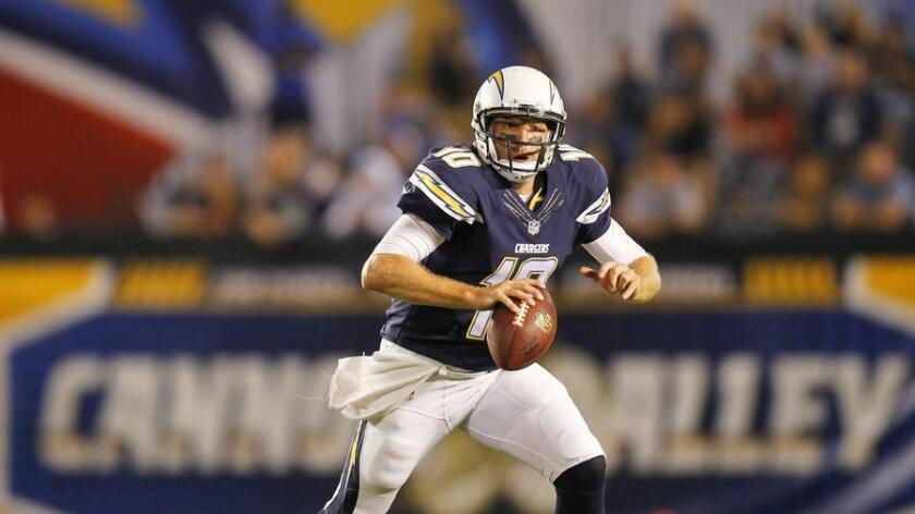 San Diego Chargers Kellen Clemens scrambles against the San Francisco 49ers. (K.C. Alfred)