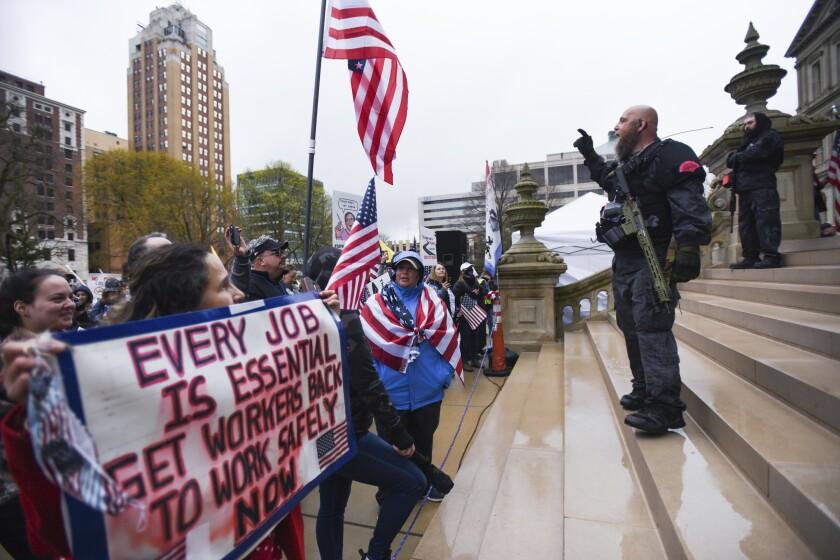 Armed protestor in Michigan