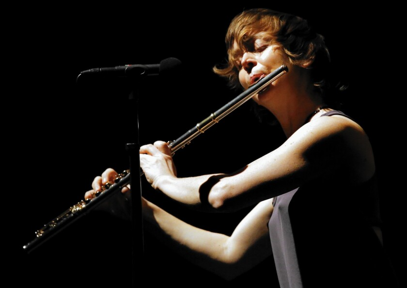 Flutist Claire Chase performs at Shoenberg Hall at UCLA on April 4, 2015.