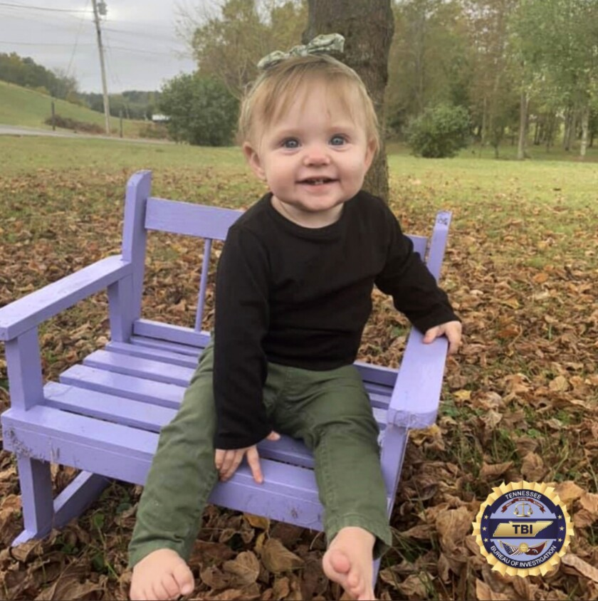 FILE - This undated photo released by the Tennessee Bureau of Investigation shows Evelyn Mae Boswell. Megan Boswell, the 18-year-old mother of the 15-month-old girl, is charged with making a false report, according to the Sullivan County Sheriff's Office. Remains believed to be that of the toddler were found Friday, March 6, 2020, in Tennessee, ending the 17-day search across three states for her, authorities said. (Tennessee Bureau of Investigation via AP, File)