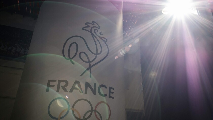 A logo of the French Olympic team is viewed inside the renovated site of Club France, French hospitality house for Rio 2016 Olympic Games Rio de Janeiro.