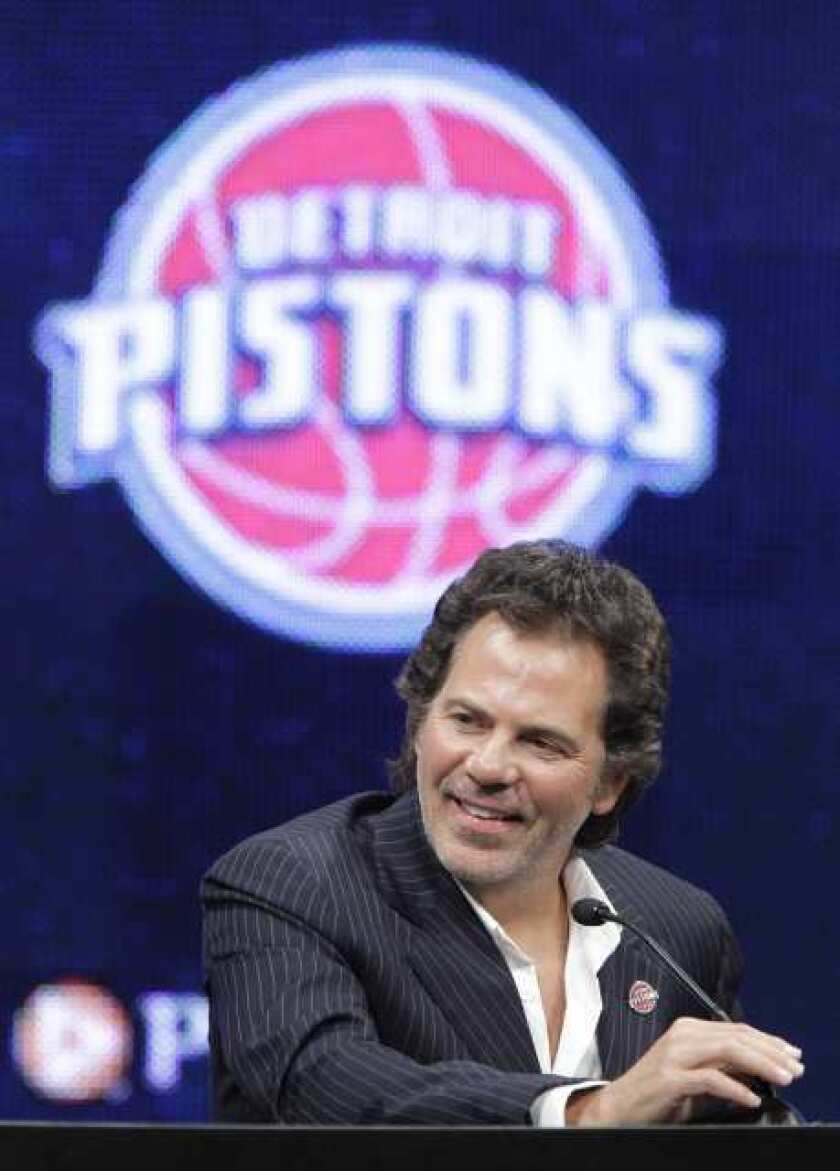 Detroit Pistons owner Tom Gores addresses the media at the Palace of Auburn Hills in Auburn Hills, Mich.