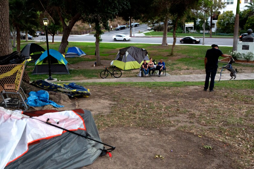A homeless encampment at Echo Park Lake