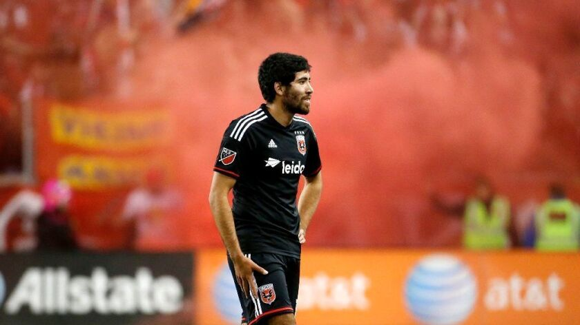 Former D.C. United midfielder Miguel Aguilar walks off the field after a 1-0 loss to the New York Red Bulls on Nov. 8. 2015.