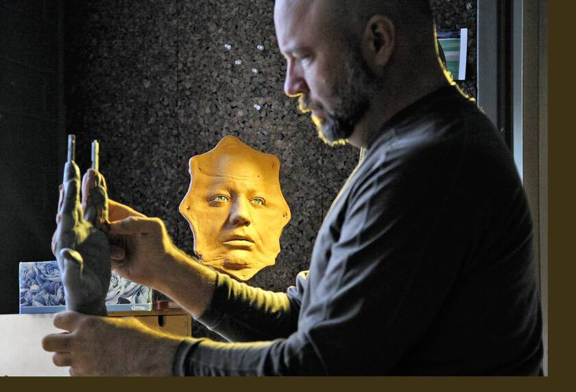 """Barney Burman, owner of B2FX in North Hollywood, begins work on a sculpture for the fairy-tale-inspired """"Grimm,"""" the popular NBC series now in its second season."""