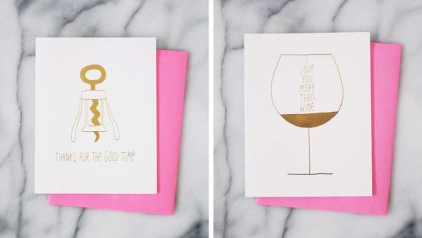 Two of the clever wine-themed cards from Bottle Stock, an online retailer of wine accessories founded by sommelier Whitney Adams. These two were created by Los Angeles designer Ashkahn.