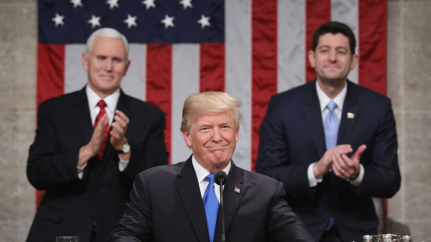 US President Donald J. Trump delivers his State of the Union to Congress, Washington, USA - 30 Jan 2018