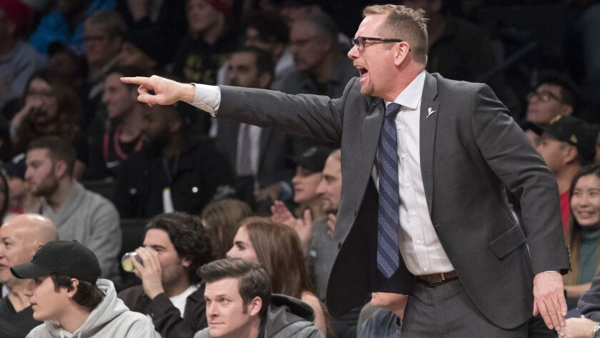 Toronto Raptors head coach Nick Nurse reacts during overtime against the Brooklyn Nets on Friday in New York.