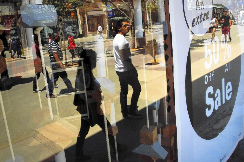 Total household debt rose $129 billion from January through March, the first time since the recession it had increased for three straight quarters. Above, Urban Outfitters in Santa Monica last month.