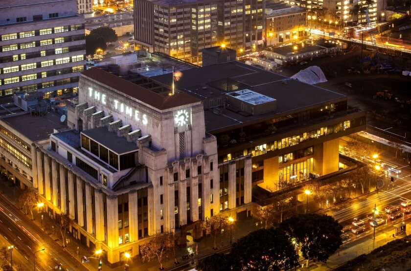 A view of the Los Angeles Times building from the City Hall observation deck.
