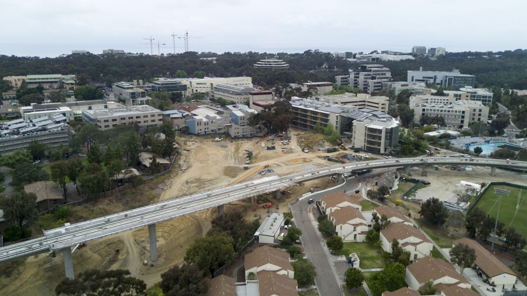 The Pepper Canyon area of UC San Diego where a trolley stop is under construction and the new front door to the campus is being planned.