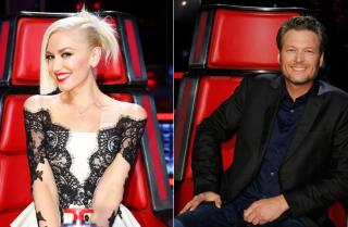 Gwen Stefani and Blake Shelton flirt on 'The Voice;' Pharrell and Adam Levine hilariously react