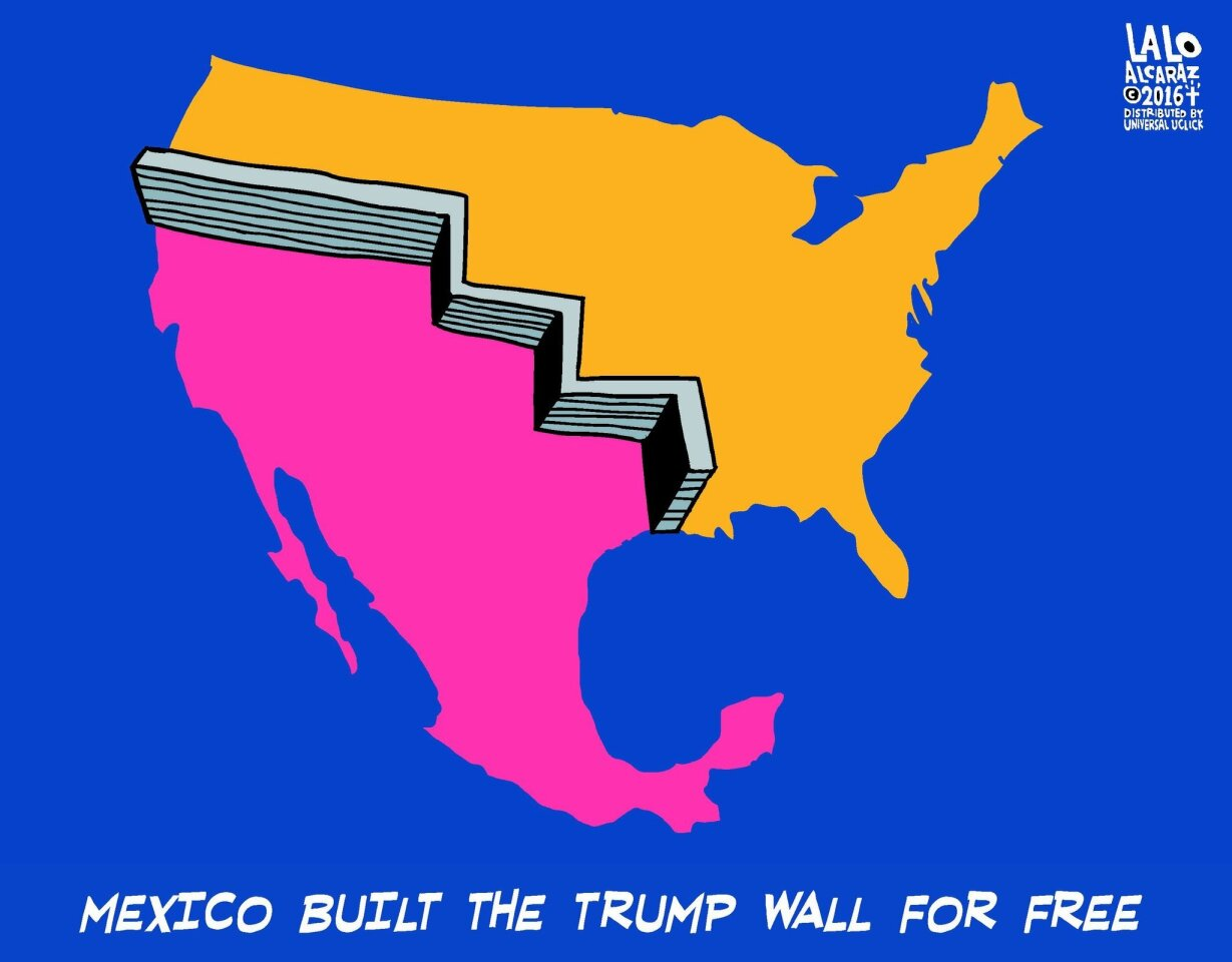 """Lalo Alcaraz, Universal Syndicate """"I think there was a meme going around showing the Mexican and U.S. boundaries from the 1820s, and I thought, well, that's where the wall should be,"""" Alcaraz said. """"Mexico would invest in that wall."""""""