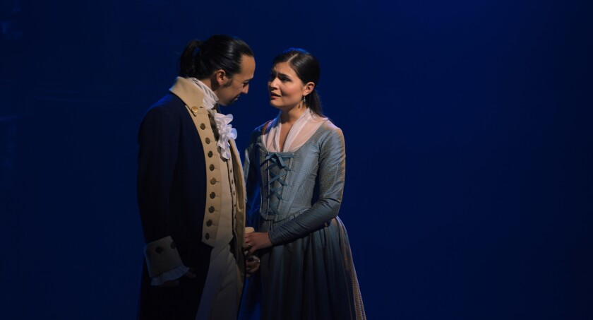 Phillipa Soo, right, with Lin-Manuel Miranda