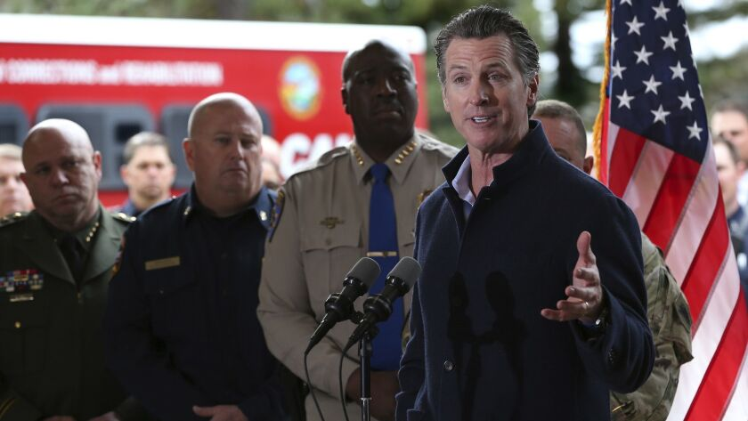 Gov. Newsom visits the California Department of Forestry and Fire Protection station in Colfax, Calif. on Jan. 8.