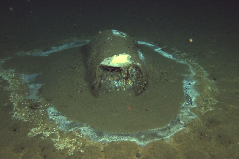 A discarded, leaking barrel 3,000 feet deep on the ocean floor near Santa Catalina Island. (David Valentine/ROV Jason)