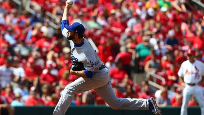 Dodgers reliever Brandon Morrow pitches against the St. Louis Cardinals in the eighth inning June 1.