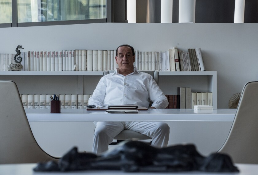 "Toni Servillo as Silvio Berlusconi in Paolo Sorrentino's ""Loro."""