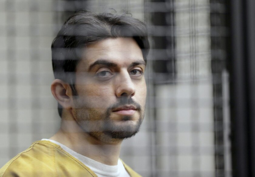 FILE - In this Feb. 2, 2016 file photo, jail escapee Hossein Nayeri appears in court in Santa Ana, Calif. Nayeri, the suspected mastermind of a three-man escape from a Southern California jail, says he never intended to harm anyone during his eight days on the run. In a jailhouse interview, Nayeri