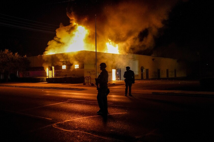 A building burns in Kenosha.