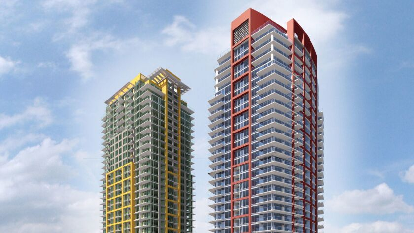 The second Pinnacle on the Park apartment tower will feature red highlights to complement the yellow color scheme in the tower that opened last year downtown.