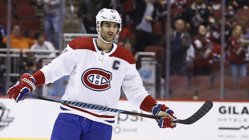 FILE - In this Thursday, Feb. 15, 2018, file photo, Montreal Canadiens left wing Max Pacioretty (67)