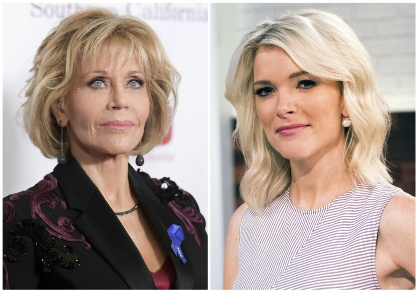 """Jane Fonda appears at the 2017 ACLU SoCal's Bill of Rights Dinner in Beverly Hills, Calif., on Dec. 3, 2017, left, and Megyn Kelly poses on the set of her new show, """"Megyn Kelly Today"""" in New York on Sept, 21, 2017."""