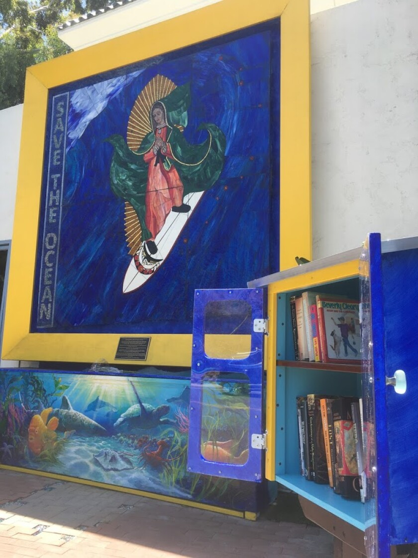 The new Little Free Library is located at the corner of Highway 101 and Encinitas Boulevard behind Leucadia Pizzeria.