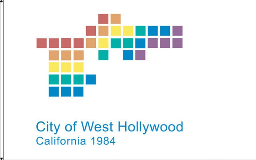 The City of West Hollywood will fly a new city flag at City Hall, which incorporates rainbow colors into the city's logo.