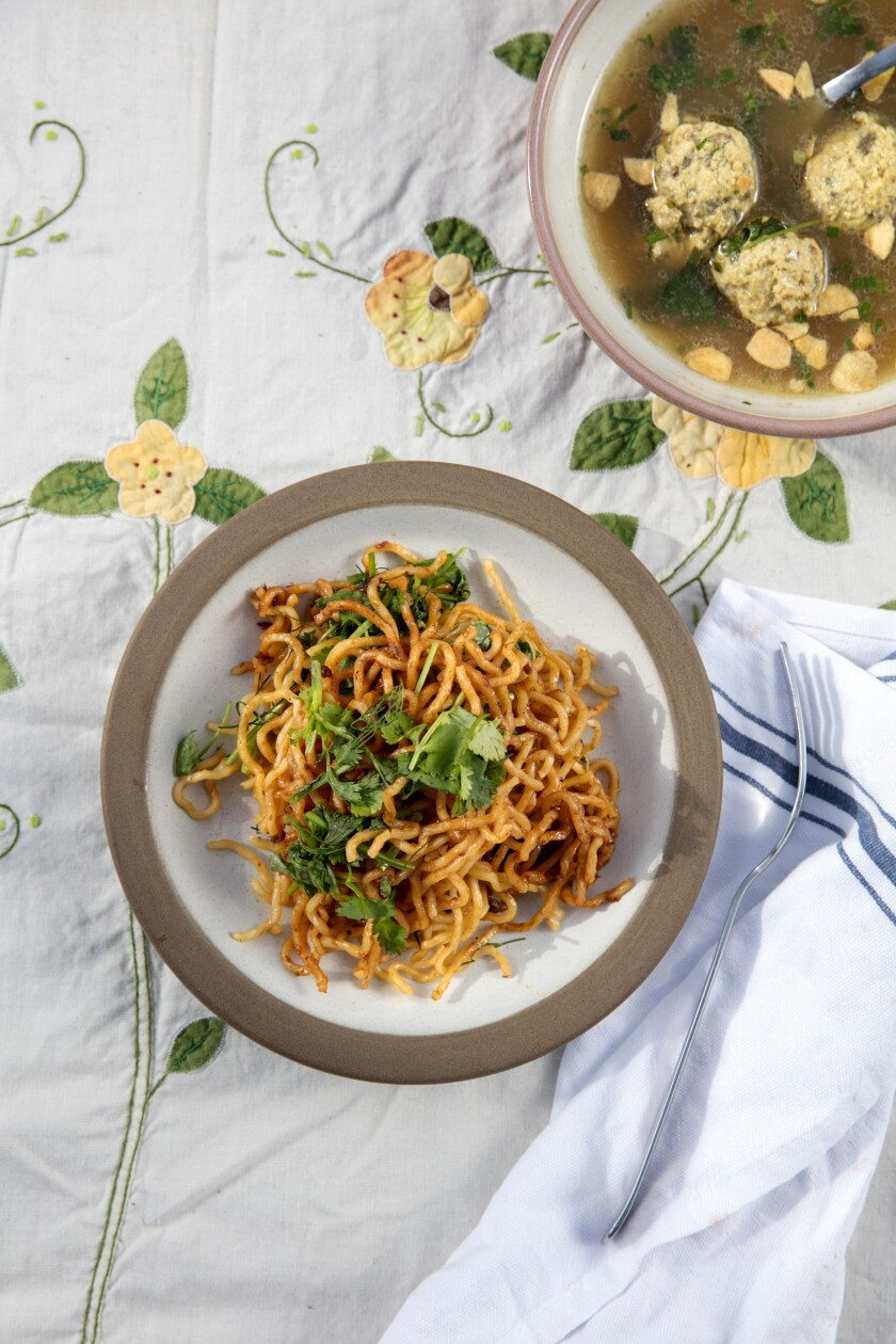 Spicy Shrimp Paste Noodles With Charred Onion-Herb Broth