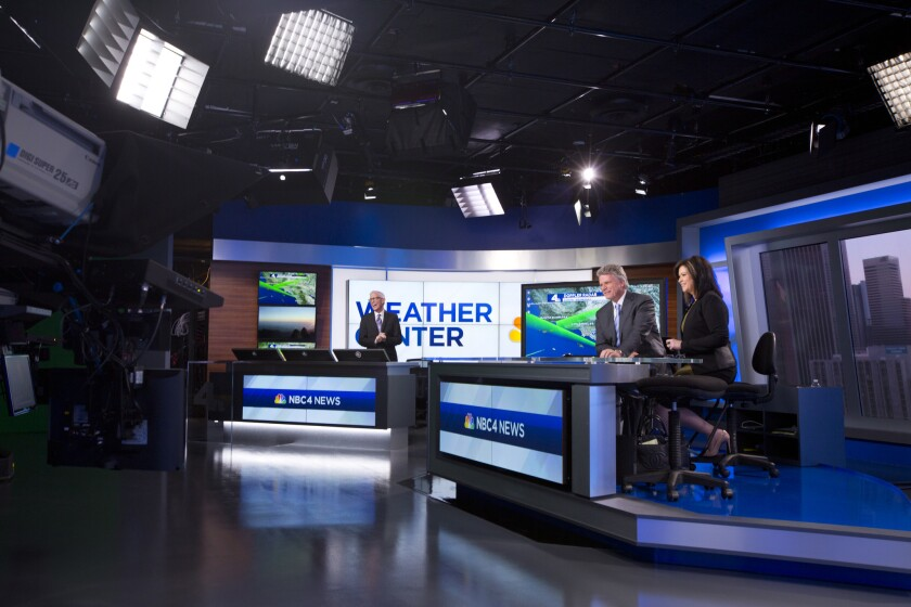 KNBC-TV Channel 4 featuring meteorologist Fritz Coleman and news anchors Chuck Henry and Colleen Williams moved into a gleaming new studio, pictured here, this week.