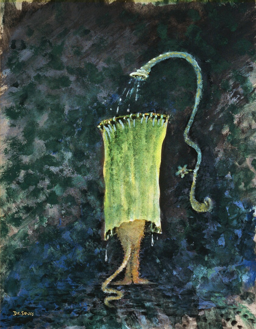 """A painting titled """"Cat in Obsolete Shower Bath, """" date unknown, from iconic children's book author D"""