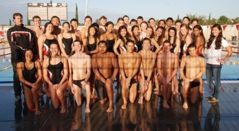Canyon Crest Academy 2013 Varsity Swim & Dive Team with head coach Nico Kintz and assistant coach Megan Milder.