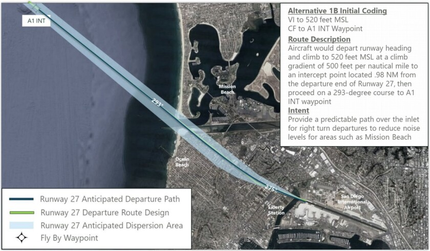 This is a proposal called Alternative 1B for jets departing San Diego International Airport.