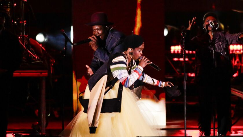 Lauryn Hill performs Tuesday night at the Hollywood Bowl.