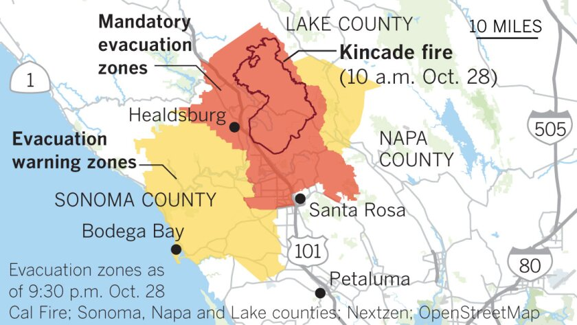 Evacuations for the Kincade fire