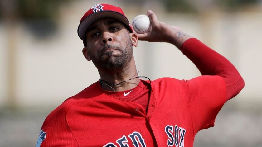 Red Sox pitcher David Price throws a live batting session at a spring training workout on Feb. 19 in Fort Myers, Fla.