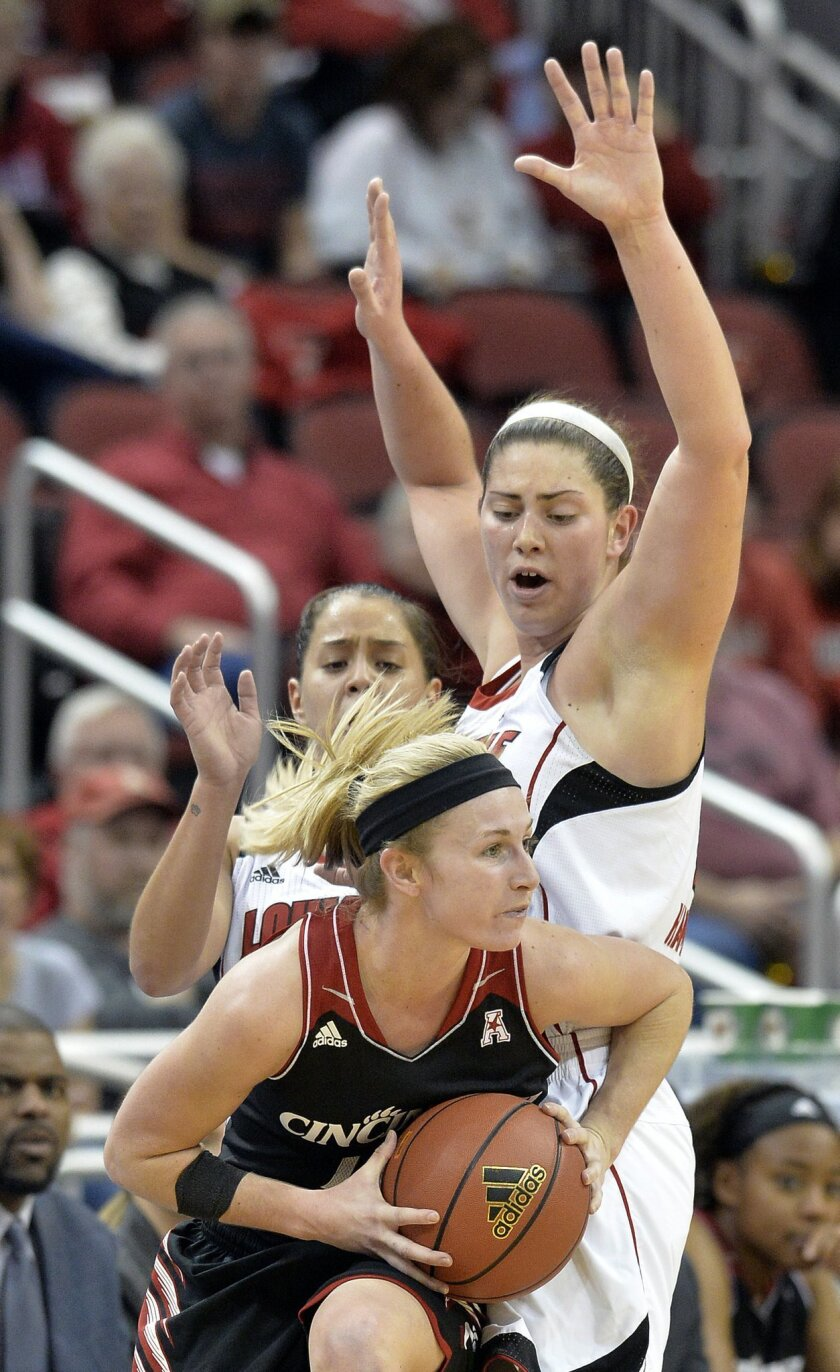 Cincinnati's Kayla Cook, front, fights her way around the screen of Louisville's Sara Hammond during the second half of an NCAA college basketball game Saturday Jan. 4, 2014, in Louisville, Ky. Louisville defeated Cincinnati 64-45. (AP Photo/Timothy D. Easley)