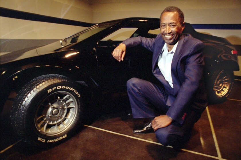 Cliff Hall with the prototype of his Corwin Getaway sports car at the Petersen Automotive Museum in 1994.