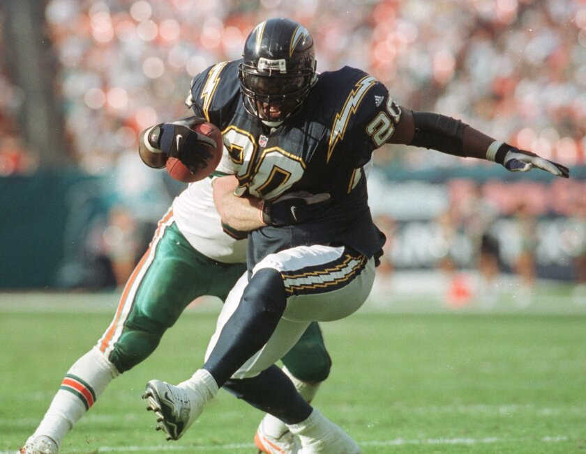Natrone Means, shown in a 1999 game, ranks fourth on all-time list of Chargers rushers.