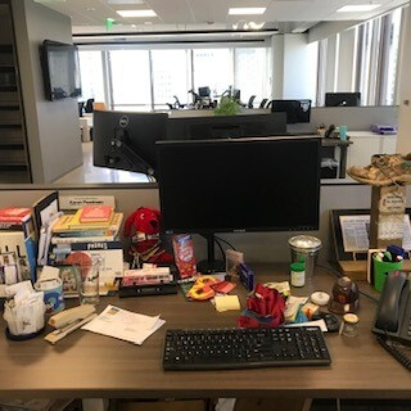 An empty office space at The San Diego Union-Tribune.