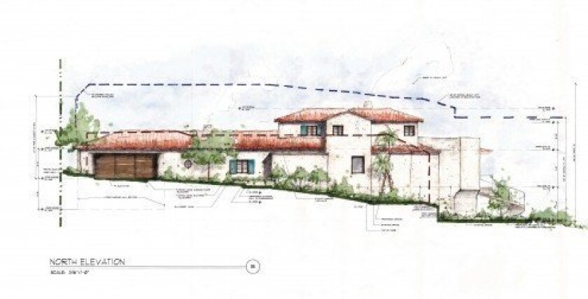 Architectural rendering of Mitt and Ann Romney's proposed La Jolla home, as it would appear from Dunemere Drive.