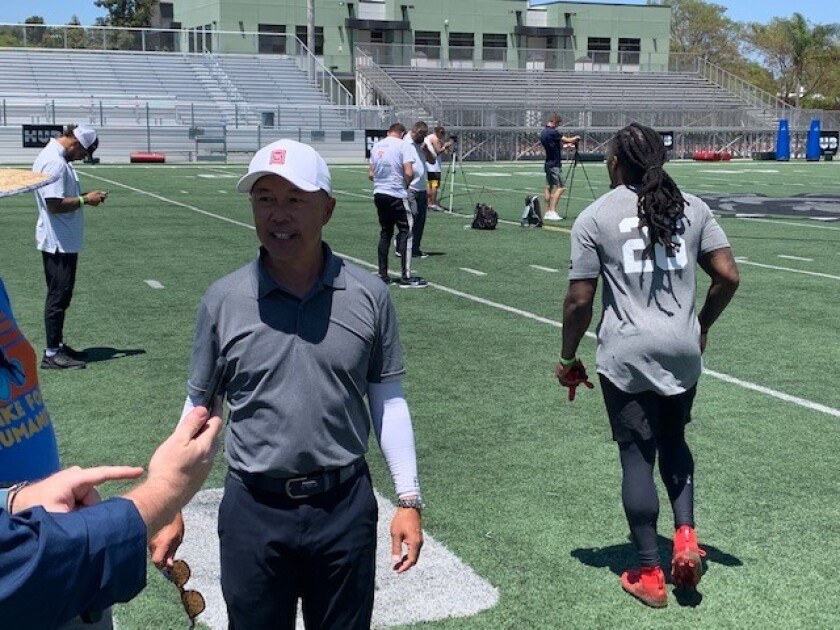 Longtime NFL agent Don Yee at a tryout event Sunday at Helix High.