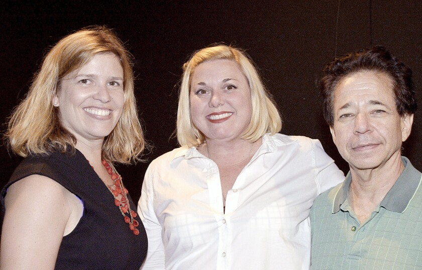 Stacie Wood-Levin of the Burbank Animal Shelter with authors Jennifer Caloyeras and Joey Camen