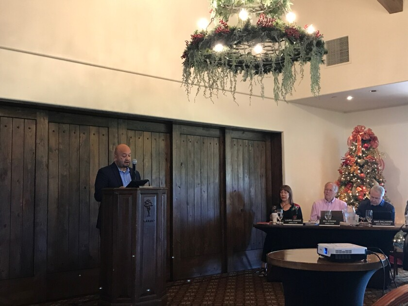 Race Communications CEO Raul Alcarez speaks at the Dec. 5 RSF Association meeting.